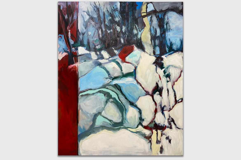 Ann Morgan, Burn Series, Burn I, Oil and Graphite on Canvas, 60